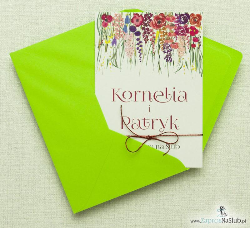 piekne-zaproszenia-slubne-kwiatowe-polne-kwiaty-roze-liscie-czerwony-metalizowa-sznurek-i-zielona-koperta