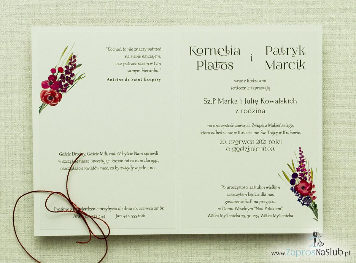 Modne zaproszenia ślubne kwiatowe. Polne kwiaty w wielu odcieniach wychodzące z góry zaproszenia. Sznurek metalizowany czerwony. ZAP-35-01