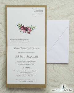 Kwiatowe zaproszenia ślubne EKO, ze sznurkiem jutowym i czarno-białym motywem oraz kwiatami. Wklejane wnętrze. ZAP-38-04