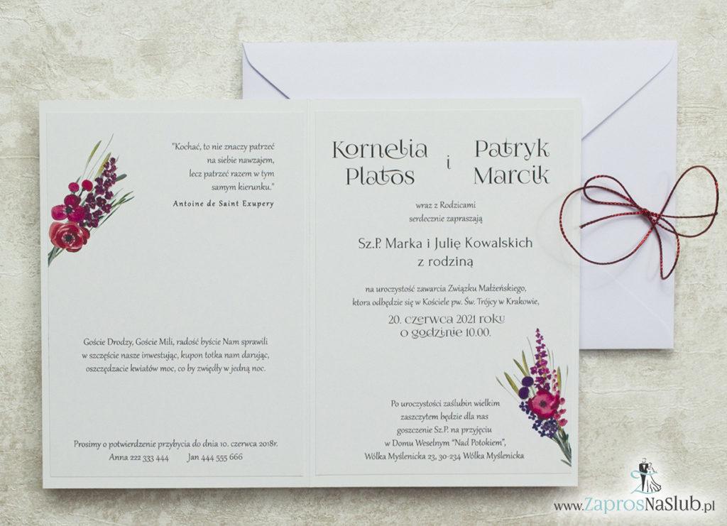 wklejane-wnętrze-do-zaproszenia-ślubne-kwiatowe-z-czerwonym-metalizowanym-sznurkiem-i-polnymi-kwiatami
