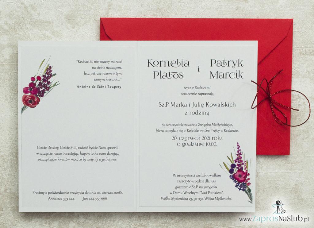 zaproszenia-ślubne-z-kwiatami-i-wklejanym-wnętrzem-czerwonym-sznurkiem-i-czerwoną-kopertą