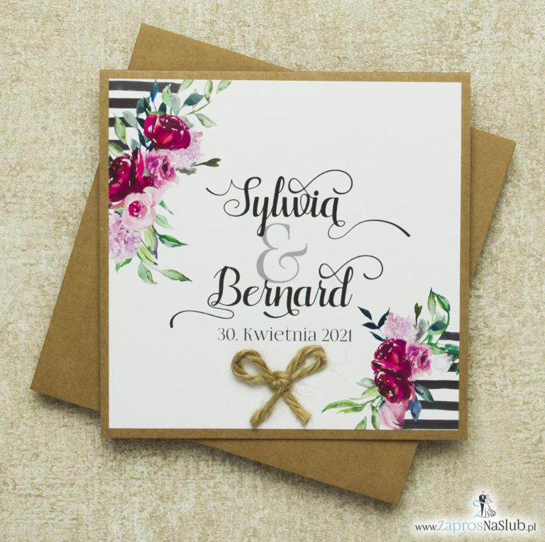 Kwiatowe zaproszenia ślubne EKO, ze sznurkiem jutowym i czarno-białym motywem oraz kwiatami. Wklejane wnętrze. ZAP-38-04 - ZaprosNaSlub