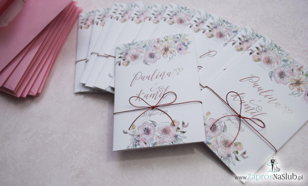 Modne zaproszenia ślubne kwiatowe. Kwiaty róż i ich kontury. Nowoczesna ozdobna czcionka. Sznurek metalizowany (1)