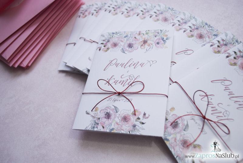 Modne zaproszenia ślubne kwiatowe. Kwiaty róż i ich kontury. Nowoczesna ozdobna czcionka. Sznurek metalizowany (2)