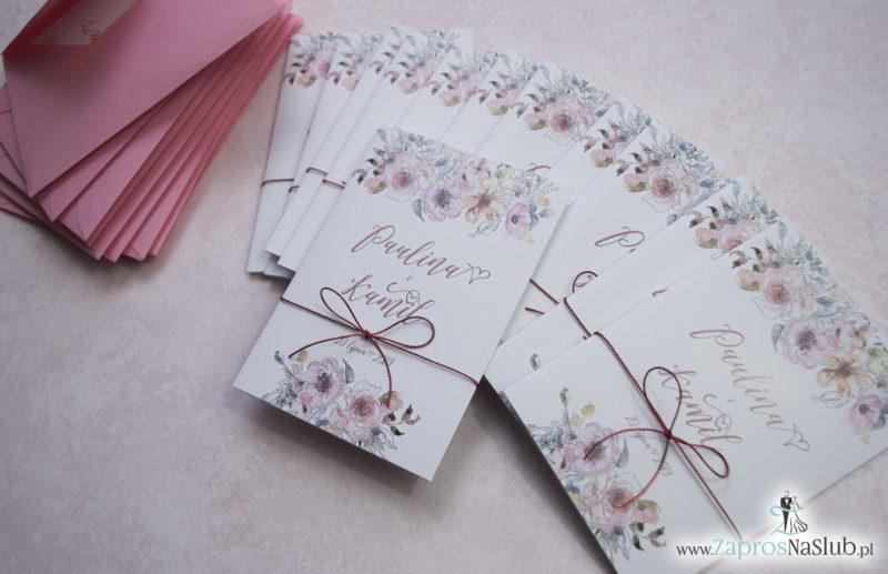 Modne zaproszenia ślubne kwiatowe. Kwiaty róż i ich kontury. Nowoczesna ozdobna czcionka. Sznurek metalizowany (7)