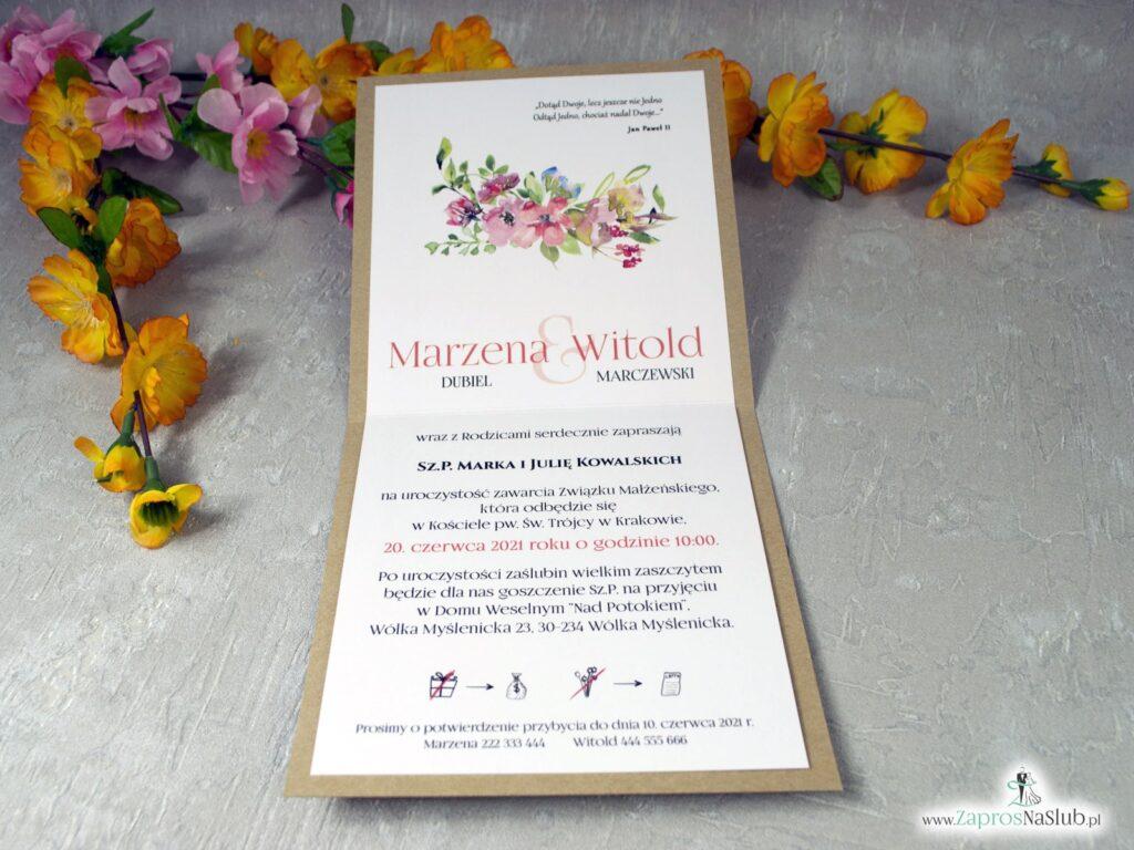 Modne zaproszenia eko, polne kwiaty i jutowy sznurek ZAP-38-03
