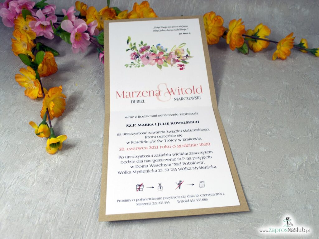 Modne zaproszenia ślubne eko z kolorowymi kwiatami polnymi ZAP-38-03