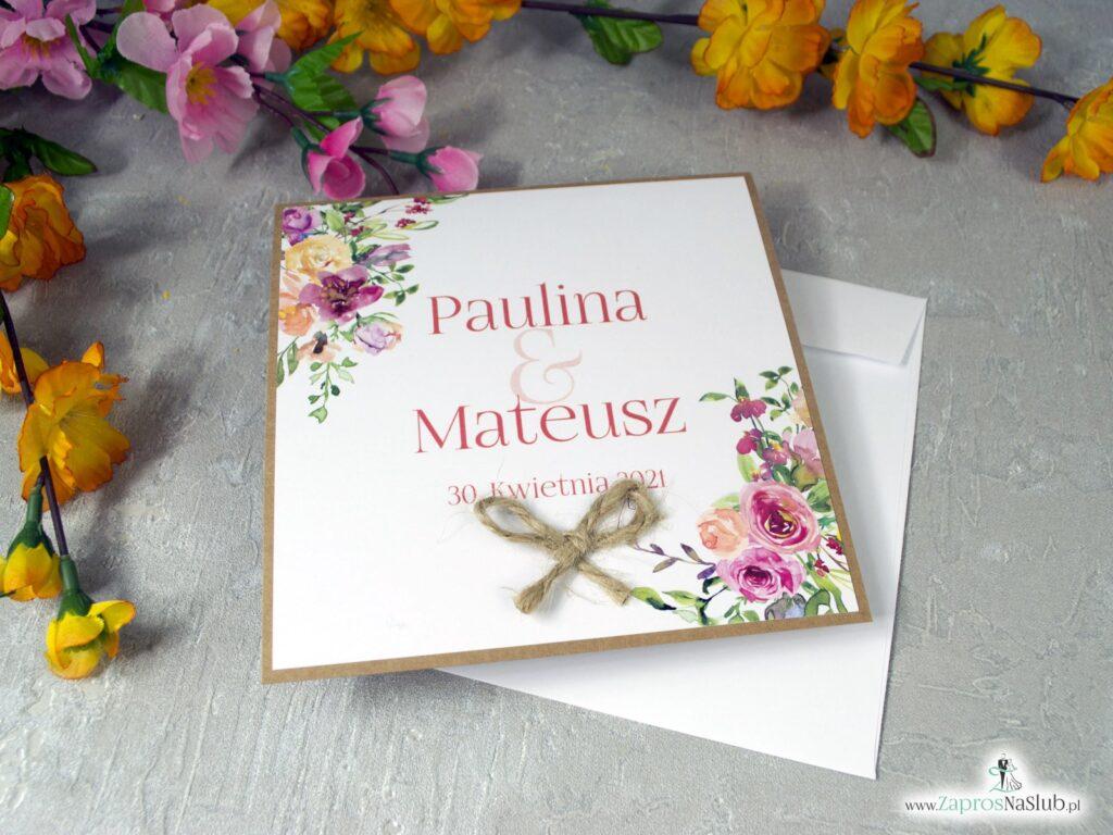 Modne zaproszenia ślubne z polnymi kwiatami na papierze eko, otwierane do góry ZAP-38-03