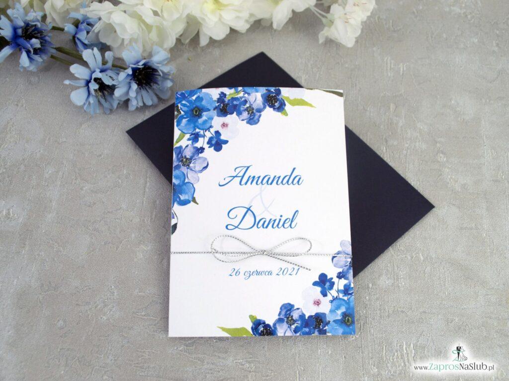 Zaproszenia na ślub niebieskie ze srebrnym sznurkiem ZAP-35-04