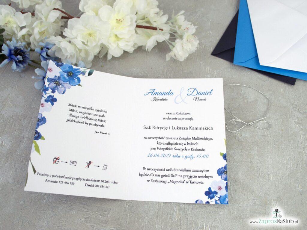 Zaproszenia na ślub z granatowymi i niebieskimi kwiatami ZAP-35-04