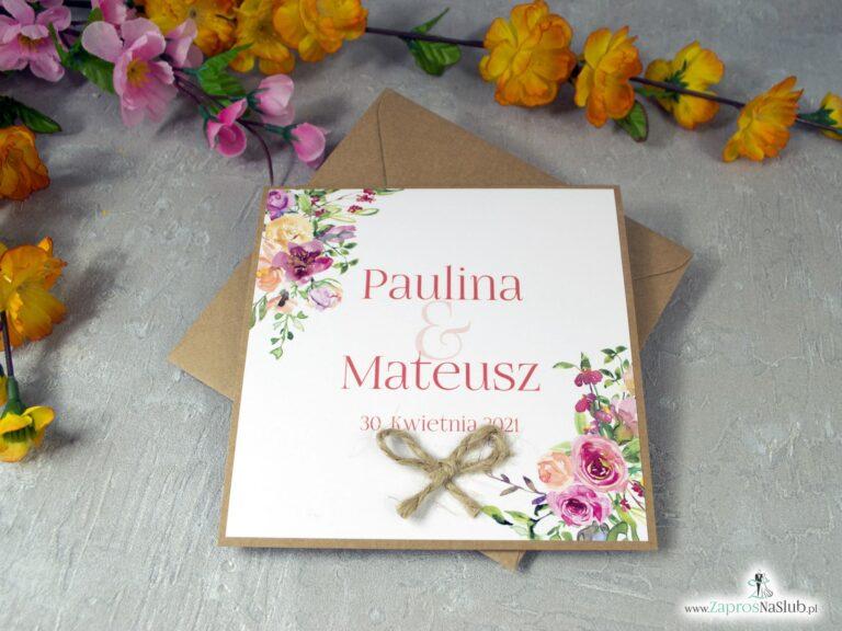 Zaproszenia na ślub z kwiatami i papierem eko ZAP-38-03