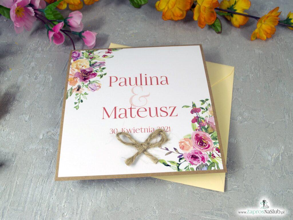Zaproszenia na ślub z polnymi kwiatami ze sznurkiem jutowym i eko ZAP-38-03