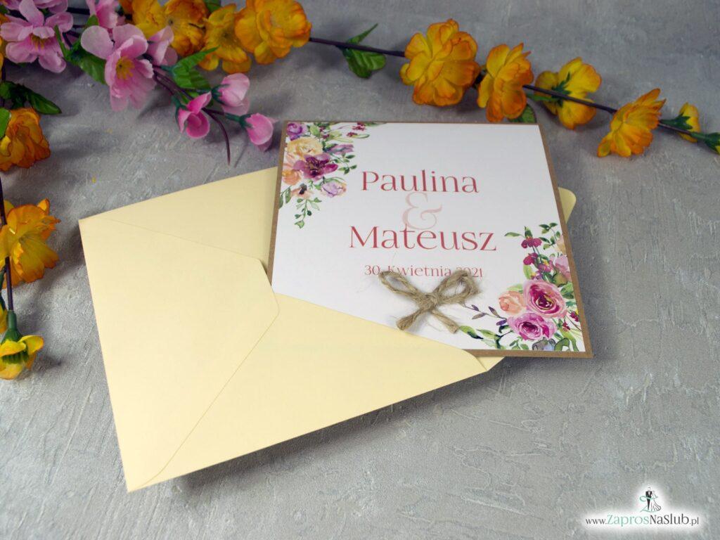 Zaproszenia ślubne eko kwiaty polne kolorowe ZAP-38-03