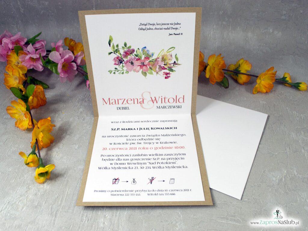 Zaproszenia ślubne eko otwierane do góry z polnymi kwiatami ZAP-38-03