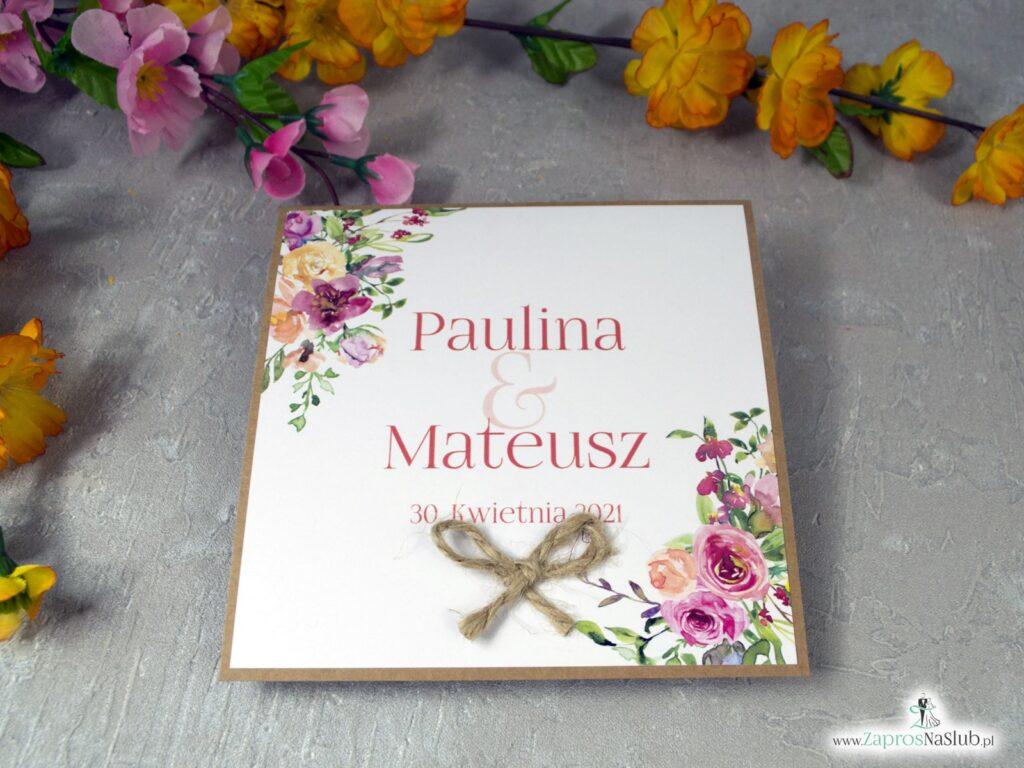 Zaproszenia ślubne eko z polnymi kwiatami ZAP-38-03