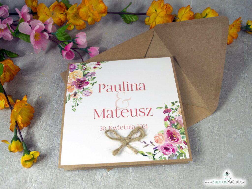 Zaproszenia ślubne otwierane do góry eko polne kwiaty ZAP-38-03