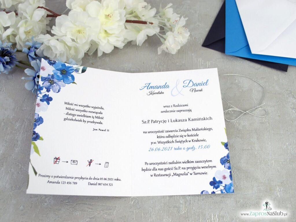 Zaproszenia ślubne z niebieskimi i granatowymi kwiatami ZAP-35-04