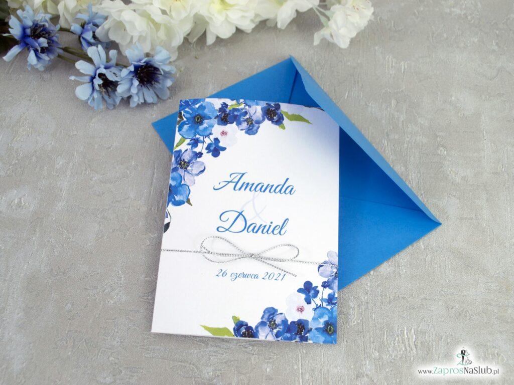Zaproszenie na ślub, niebieskie kwiatki ZAP-35-04