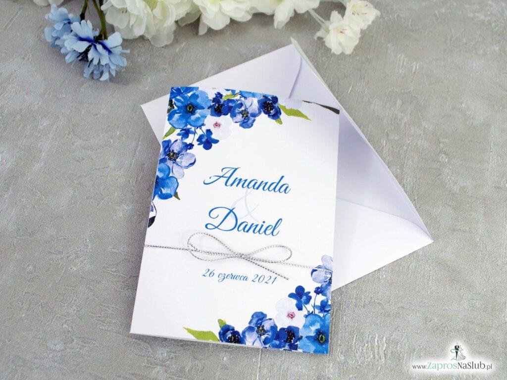 Zaproszenie ślubne z niebieskimi kwiatami ZAP-35-04