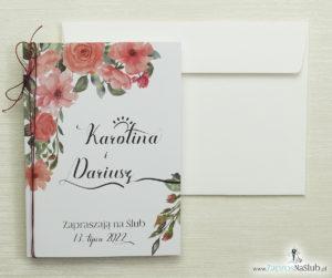 bardzo-modne-zaproszenia-ślubne-z-kwiatami-róż-czerwonym-metalizowanym-sznurkiem-modną-czcionką-ozdobną-format-a5-po-złożeniu