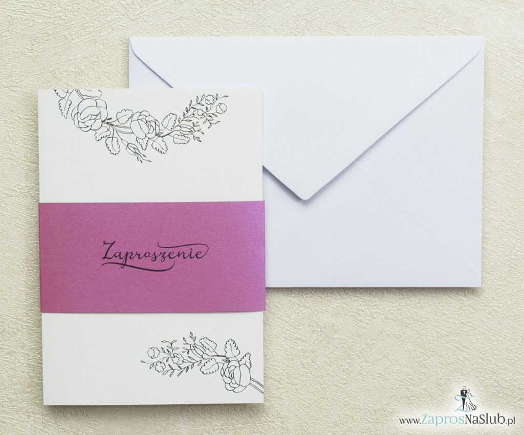 bardzo-nowoczesne-zaproszenia-ślubne-z-konturami-roślin-perłowy-pasek-w-kolorze-różanym-mieniący-się-w-świetle-biała-koperta-modny-wzór-piękna-czcionka