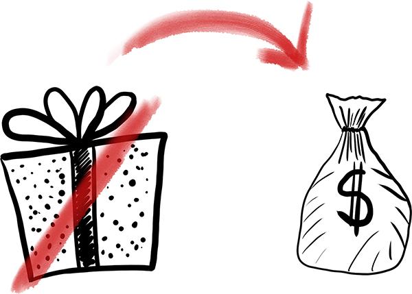 Rebus ślubny weselny zamiast prezentu worek pieniędzy