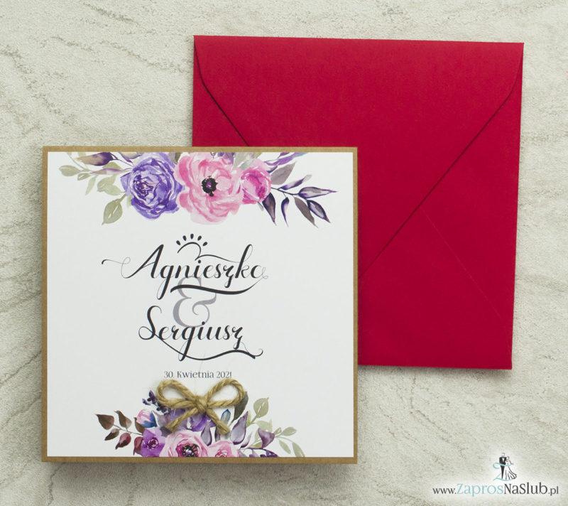 kwiatowe-zaproszenia-ślubne-eko-z-różami-liśćmi-i-czerwoną-kopertą