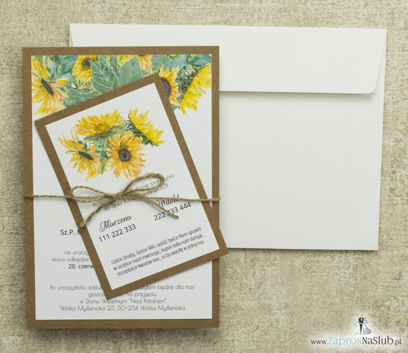 kwiatowe-zaproszenia-ślubne-eko-ze-szłonecznikami-sznurkiem-jutowym-i-papierem-kredowym