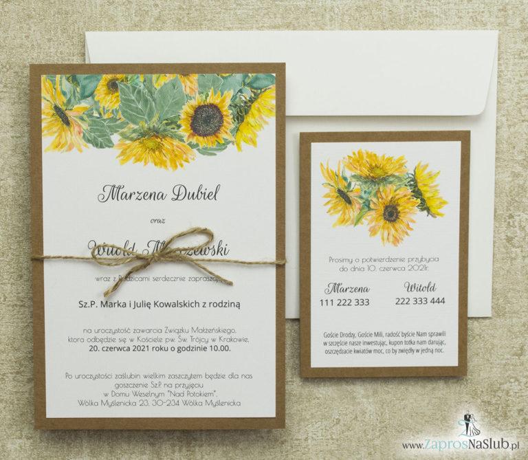 kwiatowe-zaproszenia-ślubne-ze-słonecznikiem-a5-dwie-części-sznurek-jutowy