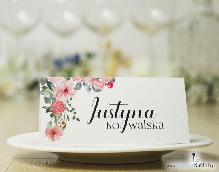 ZaprosNaSlub - Zaproszenia ślubne, personalizowane, boho, rustykalne, kwiatowe księga gości, zawieszki na alkohol, winietki, koperty, plany stołów - Modne winietki ślubne z pięknymi kwiatami róż i nowoczesną czcionką ozdobną, WIN-10002