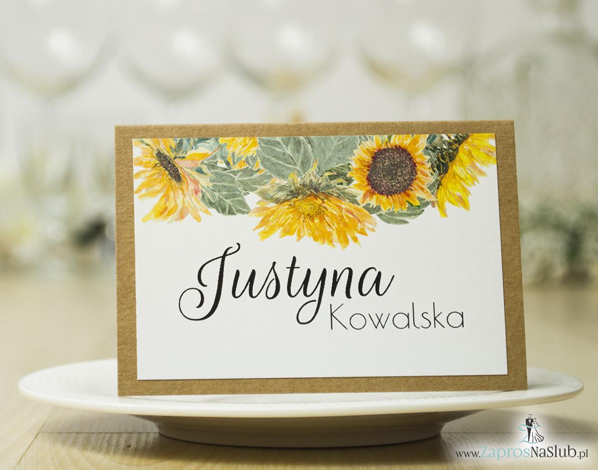 Modne winietki ślubne kwiatowe. Słoneczniki, papier eko i kredowy, nowoczesna czcionka ozdobna, WIN-10003