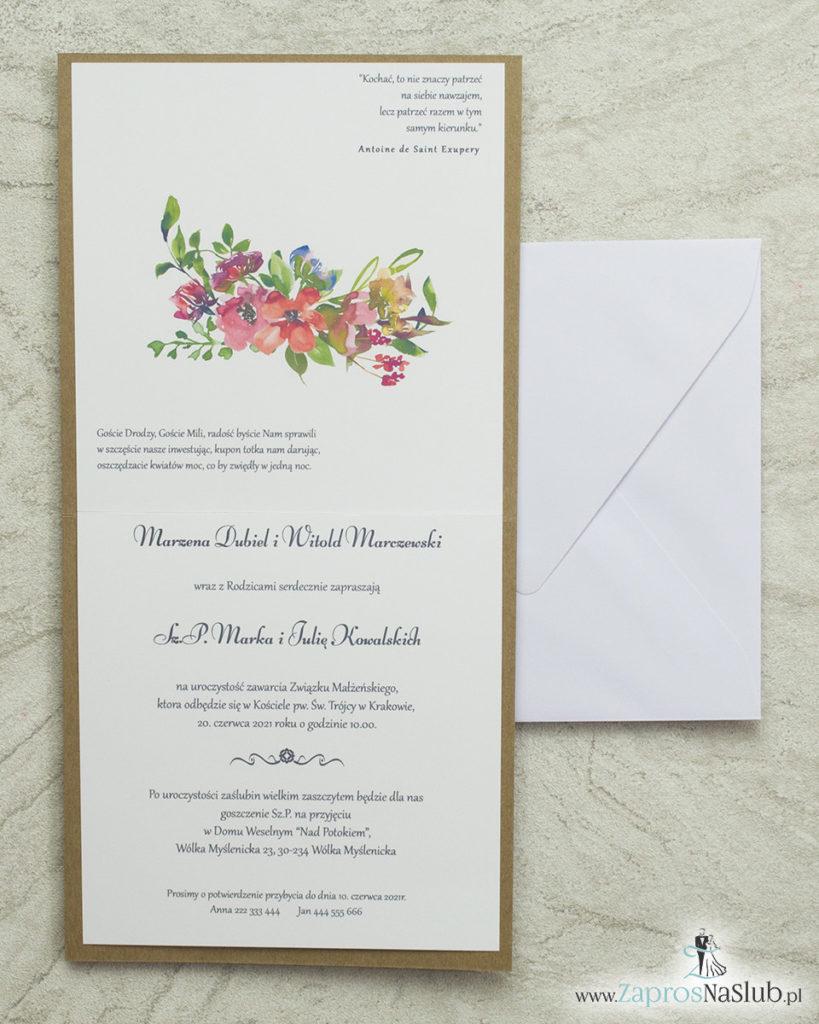 modne-zaproszenia-ślubne-eko-kwiaty-róż-biała-koperta-wklejane-wnętrze