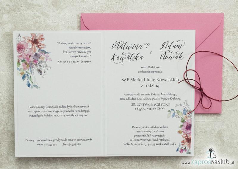 modne-zaproszenia-ślubne-kwiatowe-geometryczne-z-konturami-kwiatów-wklejane-wnętrze-różowa-koperta-metalizowany-sznurek