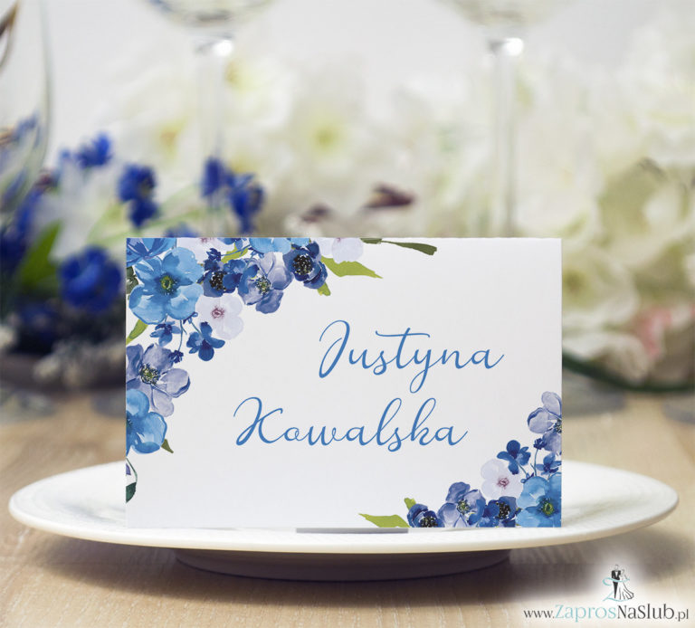 Modne winietki ślubne kwiatowe. Piękne niebieskie kwiaty oraz modna czcionka ozdobna, WIN-10007 - ZaprosNaSlub
