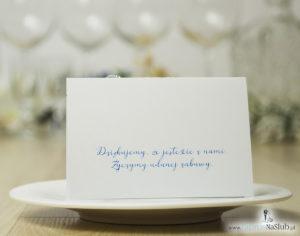 Modne winietki ślubne kwiatowe. Piękne niebieskie kwiaty oraz modna czcionka ozdobna, WIN-10007
