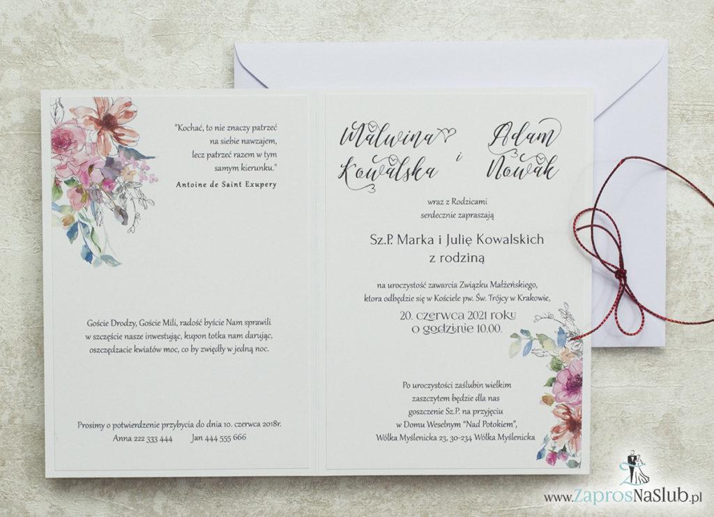 wklejane-wnętrze-modne-zaproszenia-ślubne-kwiatowe-geometryczne-kontury-różowych-kwiatów-czerwony-metalizowany-sznurek-biała-koperta