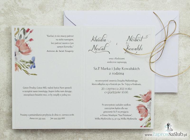 wklejane-wnętrze-nowoczesne-modne-zaproszenia-ślubne-kwiatowe-polne-różowe-czerwone-kwiaty-biała-koperta-złoty-sznurek-metalizowany