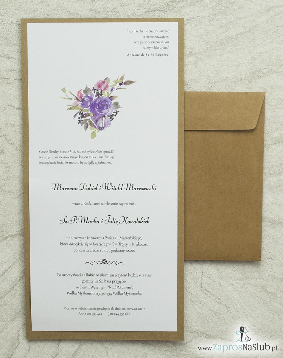 Kwiatowe zaproszenia ślubne EKO, ze sznurkiem jutowym i kwiatami w odcieniach różu i fioletu. Wklejane wnętrze. ZAP-38-05