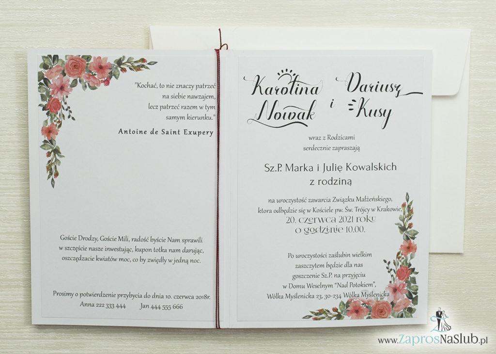 wnętrze-modne-zaproszenia-ślubne-z-różami-wklejanym-wnętrzem-sznurkiem-metalizowanym-w-kolorze-czerwonym
