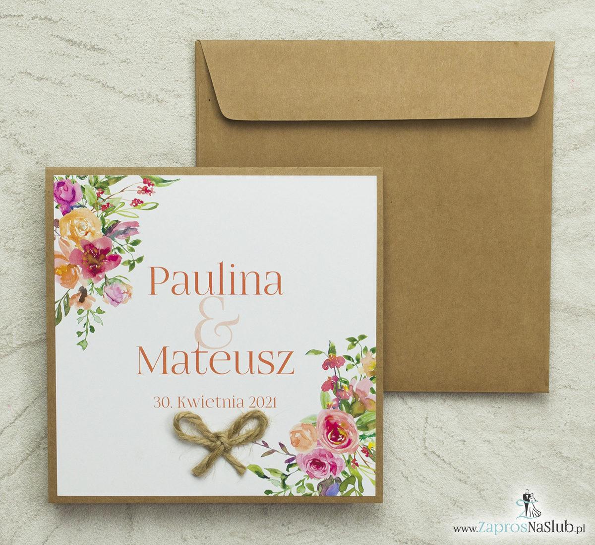 Kwiatowe zaproszenia ślubne EKO, ze sznurkiem jutowym i polnymi kwiatani w odcieniach różu, czerwieni, pomarańczy. Wklejane wnętrze. ZAP-38-03