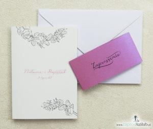 Modne zaproszenia ślubne z kwiatami z konturów i różaną opaską. ZAP-31-82
