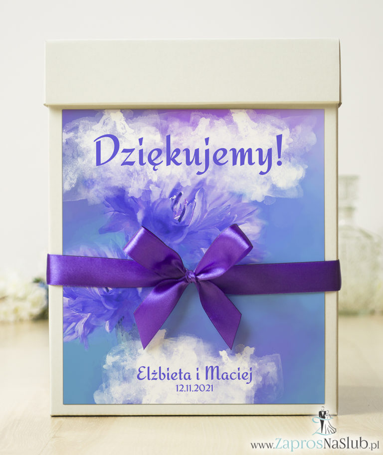 Pudełko na koperty z kwiatami – chabry/bławatki. PUK-10001 - ZaprosNaSlub