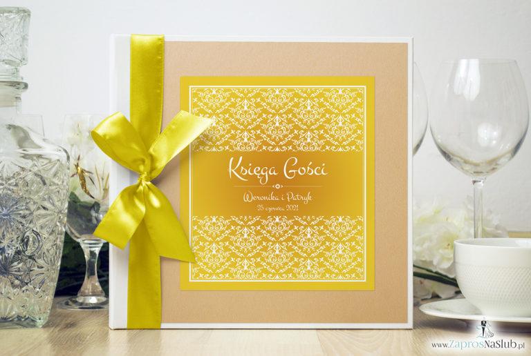 Bardzo elegancka księga gości z żółto-białą dekoracją, brzoskwiniowym perłowym papierem. KSG-10022 - ZaprosNaSlub