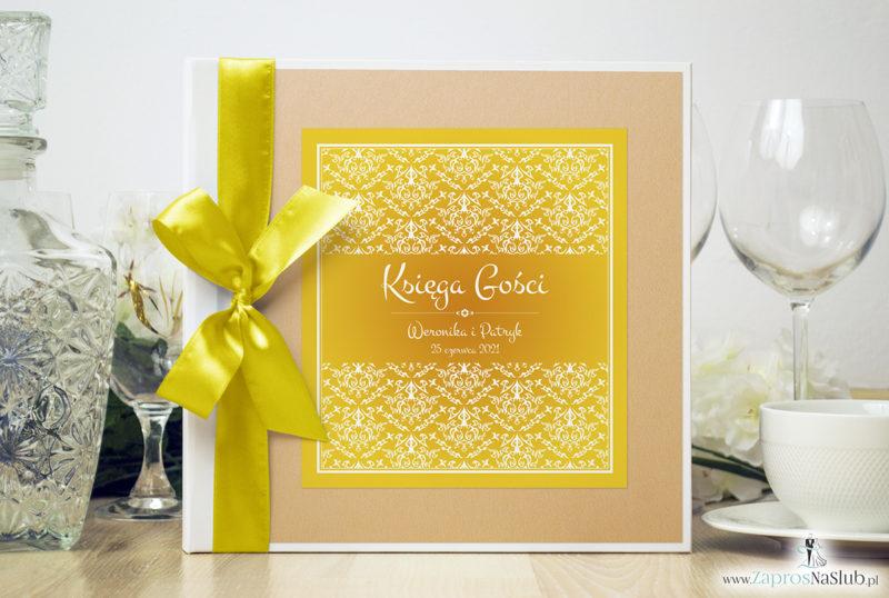 Bardzo elegancka księga gości z żółto-białą dekoracją, brzoskwiniowym perłowym papierem ksg10022-25