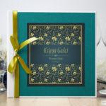 Bardzo elegancka księga gości z żółto-zielonym motywem roślinnym, perłowym papierem turkusowym ksg10009-12