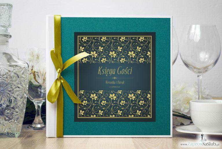 Bardzo elegancka księga gości z żółto-zielonym motywem roślinnym, perłowym papierem turkusowym. KSG-10009 - ZaprosNaSlub