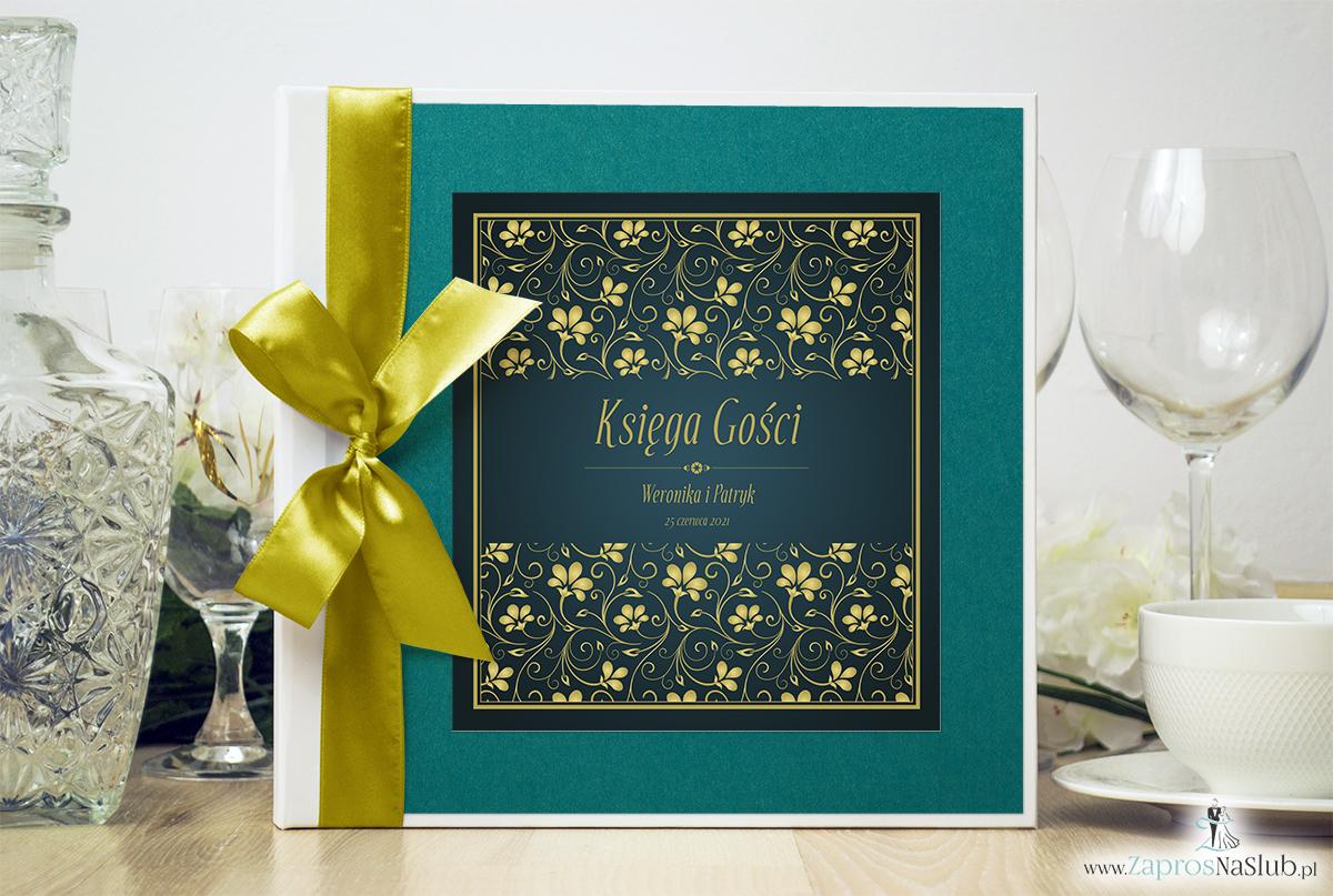 Bardzo elegancka księga gości z żółto-zielonym motywem roślinnym, perłowym papierem turkusowym. KSG-10009