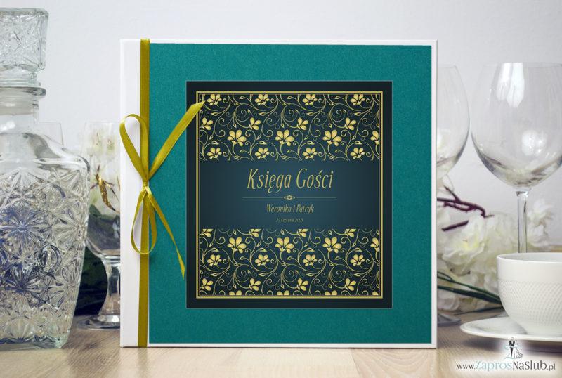 Bardzo elegancka księga gości z żółto-zielonym motywem roślinnym, perłowym papierem turkusowym ksg10009-6