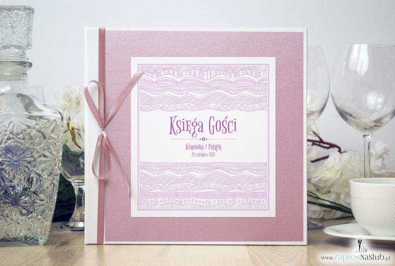 Bardzo elegancka księga gości z biało-różowymi dekoracyjnymi paskami, różowym papierem perłowym ksg10015-6