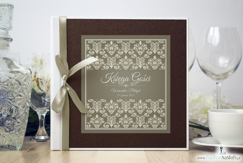 Bardzo elegancka księga gości z brązowo-kremowym ornamentem barokowym brązowym papierem perłowym ksg10016-12